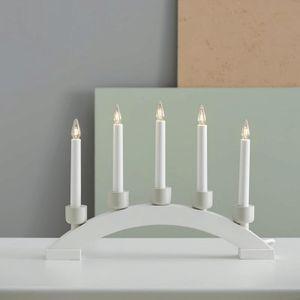 Lichterbogen 'Paint Snow'- 5flammig - 5 warmweiße Glühlampen - L: 41cm, H: 28,5cm - Holz - weiß