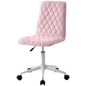 Merax Bürostuhl Samt Schreibtischstuhl Drehstuhl Chefsessel aus Stoff, höhenverstellbar Rollhocker Computerstuhl Arbeitsstuhl für Wohnung und Büro, Rosa
