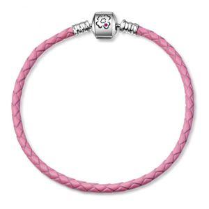 PANDACHARMS Damen Rosa Leder Armband, Verschluss mit Kleeblatt Gravur, 925 Silber, 19cm, passt zu Pandora Moments