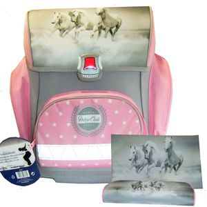 Ranzen Set | 3 teilig | Pferde | Ranzen| Sportbeutel| Faulenzer, pink - grau