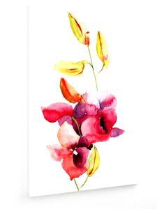 Rosa Orchideen Blumen, Aquarellillustration - 50x75cm - Leinwandbild auf Keilrahmen - weewado - Wandbilder - Kunst, Gemälde, Fotografie - Blumen