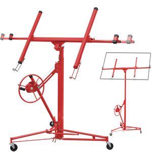Plattenheber 140-350cm Paneelheber Rigipsplatte Montagehilfe max. 68 kg, Plattenlift Trockenbau, Farbe: Rot