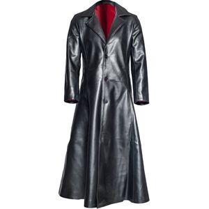 Herrenmode Gothic Long Coat Ledermantel Kunstleder Jacken Jacken S-5XL Größe:XXXL,Farbe:Schwarz
