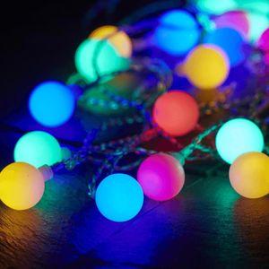 LED Lichterkette BERRY - 50 bunte, opale LED - L: 7,35m - transparentes Kabel - Outdoor