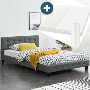 Juskys Polsterbett Manresa 120x200 cm - Bett Komplett-Set mit Matratze, Lattenrost & Kopfteil - Holz Bettgestell für Kinder bis Erwachsene – grau