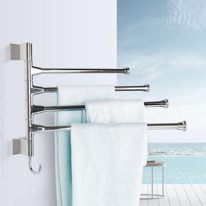 Handtuchhalter mit 4 Handtuchstangen 360° drehbar| Edelstahl