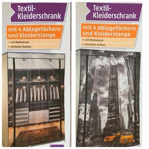 Mobiler Textil-Kleiderschrank Stoffschrank Faltschrank Textilschrank Gaderobe, Motiv:Schrank
