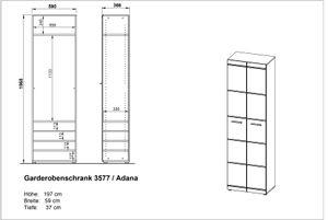 """Germania Garderobenschrank """"GW-ADANA"""" in Weiß mit Hochglanz-Fronten, 59 x 197 x 37  cm (BxHxT), 3577-84"""