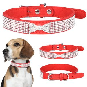 Strass Lederband Hundehalsband Welpen Katze Haustier Halsband, S(25-31cm), Rot