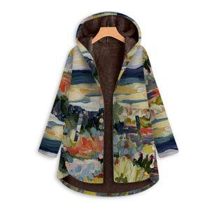 Frauen Vintage Landscape Print Fleece Kapuze Plus Size Langarm Dicker Mantel Größe:M,Farbe:Grün