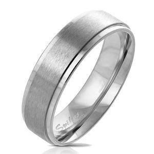 viva-adorno Gr. 50 (15,9 mm Ø) Damen & Herren Edelstahl Ring Partnerring Verlobungsring matt gebürstete Mitte RS57,Silber mit gebürsteter Mitte,