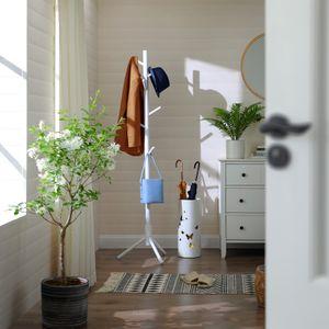 VASAGLE Garderobenständer, freistehender Kleiderständer, Garderobe aus Massivholz, in Baumform, mit 8 Haken, Eingangsbereich, weiß RCR04WT