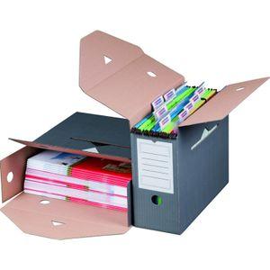 10 x Archivboxen Archivschachteln für Hängemappen 12cm Anthrazit