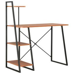 Bürotisch Vintage mit Regaleinheit   PC Tisch   Arbeitstisch Gaming Tisch   für Arbeitszimmer Büro Vintage Schwarz und Braun 102×50×117 cm - direkt vom Hersteller HOM333678