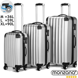 Monzana® Reisekoffer Koffer Trolley Set Hartschalenkoffer Kofferset 360°Rollen, Farbe:silber