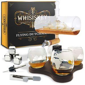 Whisiskey® Whisky Karaffe - Segelschiff - Whiskey Set - 1000ML – Inkl. 4 Edelstahle Whisky Steine, 4 Whisky Gläser, Zapfhahn & Ausgießer - Whisky Dekanter - Geschenke für Männer – Whiskygläser
