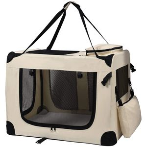 Transporttasche Faltbare Transportbox Hund Faltbox Hundetransportbox Katze Auto Auswahl petigi, Farbe / Größe:Beige / M