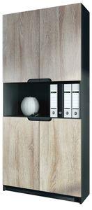 Büroschrank Aktenschrank Büromöbel Logan V2, Korpus in Schwarz matt / Fronten in Eiche sägerau