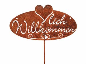 """Formano Stecker Metall Rost """" Willkommen """" Schild 22 x 72 cm Dekoration"""