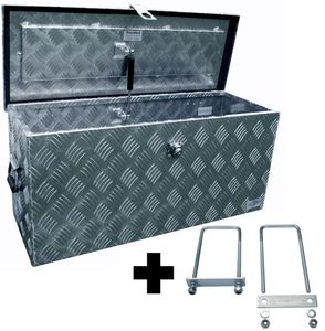 Truckbox D080 + inkl. Montagesatz MON5002 Deichselbox, Werkzeugbox, Alu Riffelblech, Transportbox, Alu Transportkiste, Anhängerkiste - ca. 78 Liter