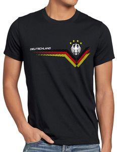 style3 Deutschland EM 2021 2022 Herren T-Shirt Germany Fußball Europameisterschaft Trikot, Größe:5XL, Farbe:Schwarz