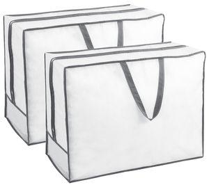 2er Set Aufbewahrungstasche für Bettdecken Kissen Kleidung, weiß, 65x50x25 cm