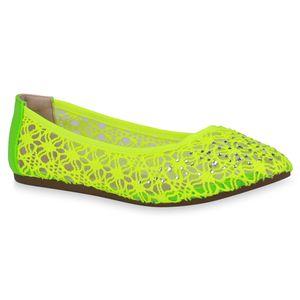 Mytrendshoe Damen Klassische Ballerinas Spitzenstoff Flats Strass Slipper 832917, Farbe: Neon Grün, Größe: 40