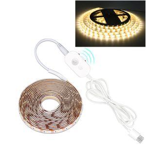 5m LED Streifen PIR Bewegungssensor Dimmbar USB Lichtband Schrankbeleuchtung, Warmweiß
