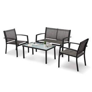 Gartenmöbel 4er Set, Sitzgruppe im Garten und Balkon, Gartengarnitur mit DREI Stühlen und einem Glastisch  - IntimaTe WM Heart