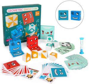 NightyNine Holzwürfel Spielzeug, Puzzle Building Cube, Emojie-Würfel-Spiel, Zauberwürfel-Bausteine, Montessori Spielzeug, Gesicht ändern Würfel, Denk-Training Lernspielzeug, Geschenk für Kinder Vorschule