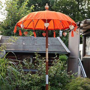 Bali Sonnenschirm Balinesischer Schirm Garten Baumwolle Sonnenschutz Handarbeit Retro Vintage Dekoschirm 2-teilig ca. 90 cm Orange