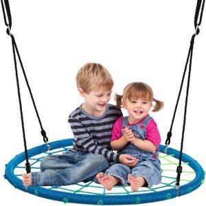 GOPLUS 100 cm Nestschaukel, Runde Tellerschaukel, Rundschaukel mit Verstellbarer Höhe von 100 bis 160 cm, mit 150 kg Belastbar, mit Stahl-Rahmen, für Kinder & Erwachsene, Indoor & Outdoor (Blau)