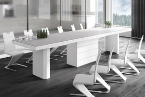 Design Konferenztisch Tisch HE-444 Hellgrau (Beigeton) MATT / Weiß HOCHGLANZ KOMBINATION XXL ausziehbar 160 bis 412 cm