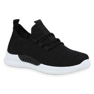 Mytrendshoe Damen Sportschuhe Laufschuhe Strick Fitness Sneaker Freizeitschuhe 833524, Farbe: Schwarz, Größe: 39