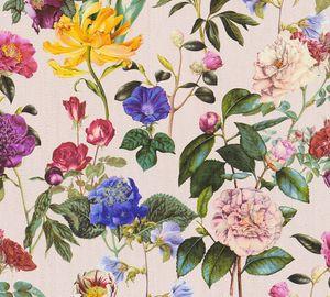 Blumen-Tapete vintage rosa bunt | Florale Tapete hellrosa 37336-3 | Vliestapete rosa 37336-3 | Blumentapete für Schlafzimmer, Wohnzimmer & Esszimmer!
