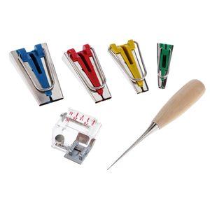 6 Stück Schrägbandformer Set Inkl. 4 Größen in 6/12/18/25 mm, Nähfuß, Ahle Schrägband Werkzeug