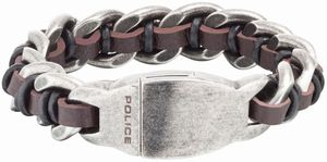 Police Leder Edelstahl Armband braun schwarz silber PJ25600BSE.02-S