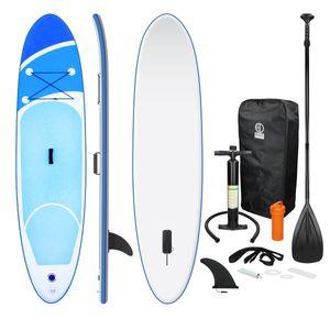 ECD Germany Aufblasbares Stand Up Paddle Board | 308 x 76 x 10 cm | Blau | PVC | bis 120kg | inkl. Pumpe Tragetasche und Zubehör | SUP Board Paddling Board Paddelboard Surfboard | verschiedene Farben