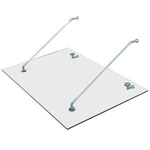 HOMCOM Vordach Glasvordach Türvordach Verbundsicherheitsglas VSG 304 Edelstahl Klarglas 3 Größen (150x90 cm) (M)