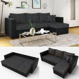 Ecksofa mit Schlaffunktion 224 x 144 cm Schwarz Grau - Couch Schlafsofa Schlafcouch Taschenfederkern Liegefläche: 200 x 140 cm
