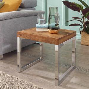 Beistelltisch Massiv-Holz Sheesham Wohnzimmer-Tisch Metallgestell Couchtisch Landhaus-Stil dunkelbraun natur B/H/T ca. 45/40/45cm