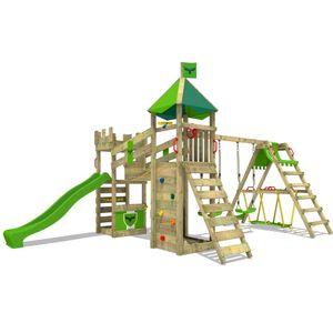 FATMOOSE Spielturm Ritterburg RiverRun mit Schaukel SurfSwing & apfelgrüner Rutsche, Spielhaus mit Sandkasten, Leiter & Spiel-Zubehör