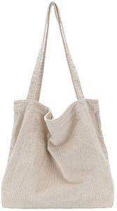 Damen Grosse Kapazität Cord Schultertasche Retro Handtasche Mode Einkaufstasche Tägliche Tasche Khaki