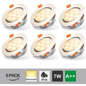 Hengda LED Einbaustrahler 6 x 7W, IP44 Ultra Flach Deckenstrahler Einbauleuchte Warmweiß  Deckeneinbaustrahler Einbaustrahler Deckeneinbauleuchte 3200K