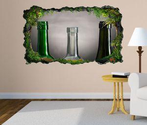3D Wandtattoo Weinflaschen leer retro Stillleben selbstklebend Wandbild Tattoo Wohnzimmer Wand Aufkleber 11L1779, Wandbild Größe F:ca. 140cmx82cm