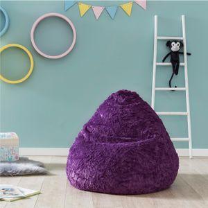 Lumaland Luxury Fluffy Sitzsack stylischer Webplüsch Beanbag 120L Füllung Lila