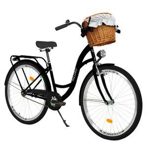 Milord Komfort Fahrrad Mit Weidenkorb Damenfahrrad, 26 Zoll, Schwarz, 1 Gang