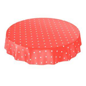 Punkte Tupfen Dots Rot Rund 140cm Wachstuch Tischdecke