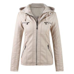 Damen Slim Leder Stand Kragen Reißverschluss Motorrad Anzug Gürtel Mantel Jacke Tops Größe:M,Farbe:Beige