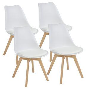 Esszimmerstühle AARHUS, 4-er SET, Weiss, buche